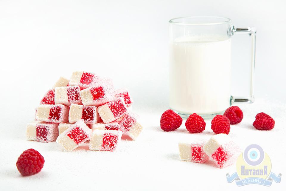 Лукум нуга молочная с малиной 2 кг